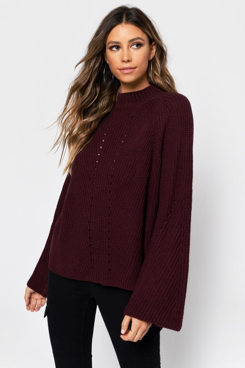 08a59b7bd7 Burgundy Sweater - Long Sleeve Sweater - Burgundy Mock Neck Sweater ...