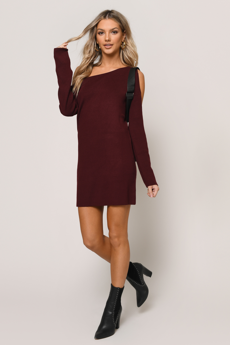 8e8994a4989b Cute Wine Dress - Cold Shoulder Dress - Long Sleeve Dress -  31 ...