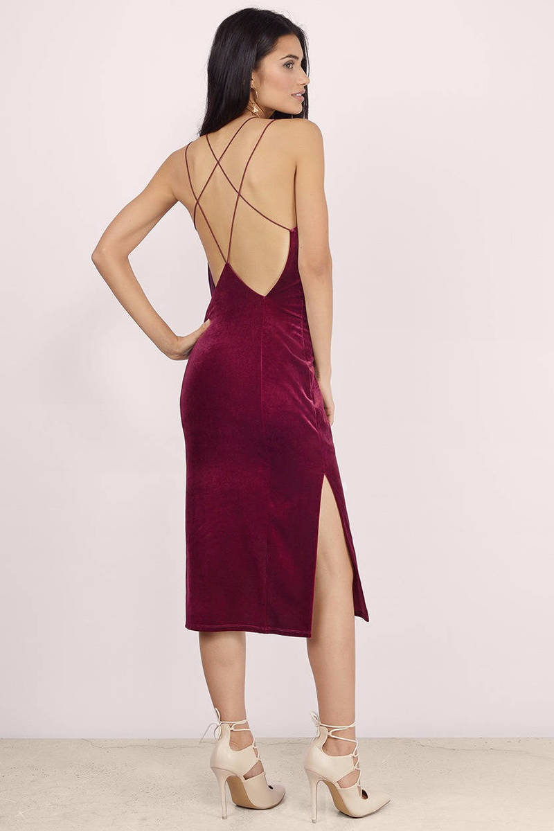 Wine Bodycon Dress - Strappy Dress - Indigo Dress - Red Midi Dress ...