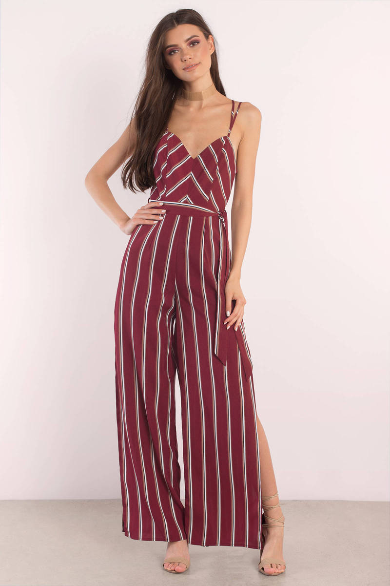 Out For The Count Wine Stripe Jumpsuit