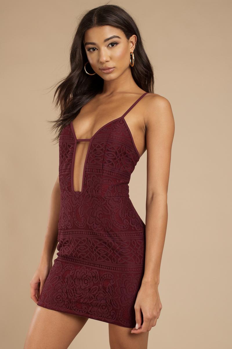 1ede52e4879 Pretty Wine Bodycon Dress - Plunging Dress - Bodycon Dress -  31 ...