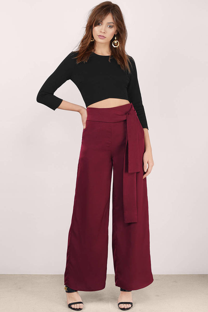Piece Of You Wine Satin Pants