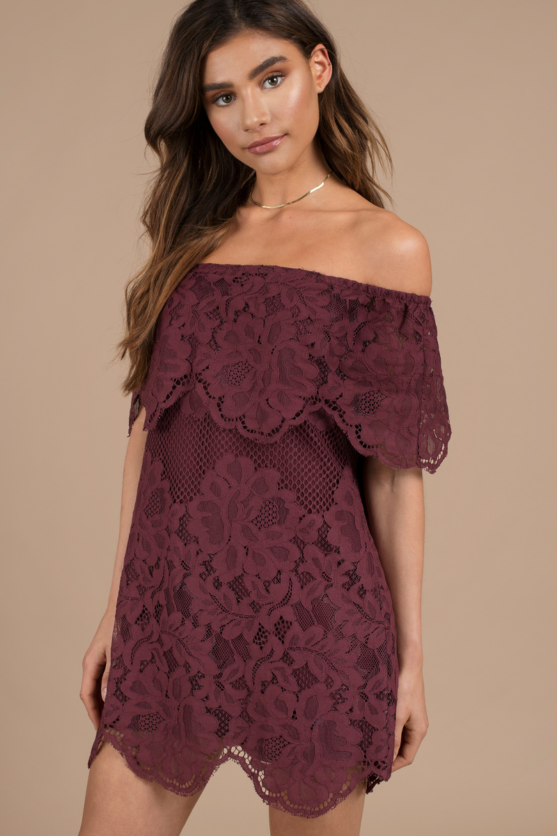 e13c8d19e41d Pretty Wine Day Dress - Off Shoulder Dress - Shift Dress -  27