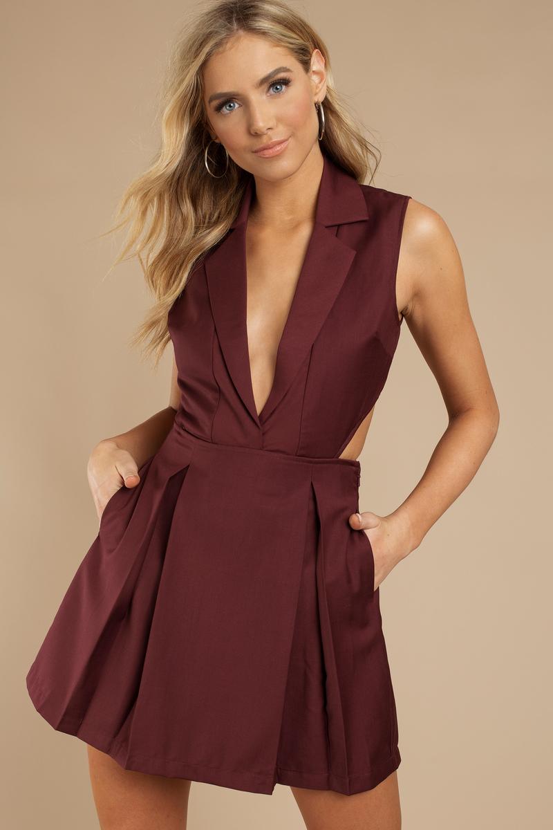 b0621a0c520a Sexy Wine Dress - Collared Dress - Red Pleated Dress - Skater Dress ...