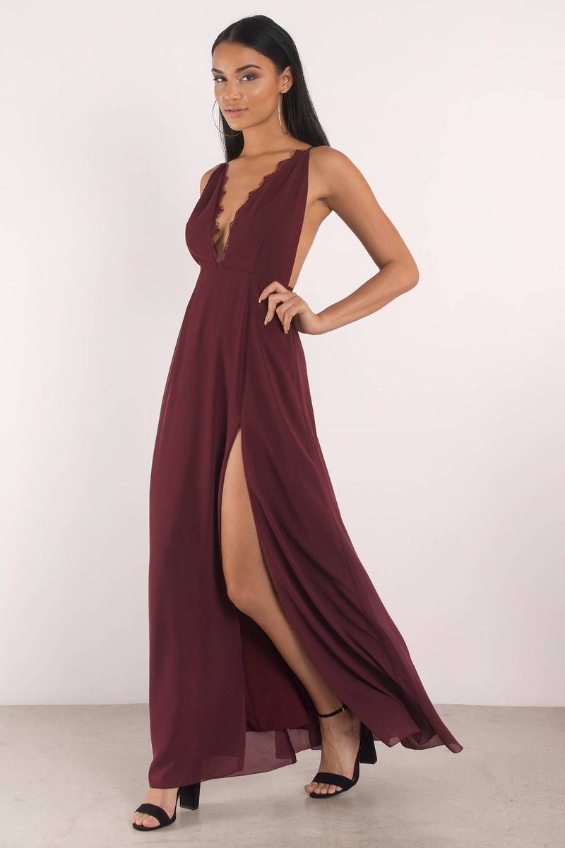 Cute Wine Dress - Plunging Neckline - Front Slit Dress - $88 | Tobi US