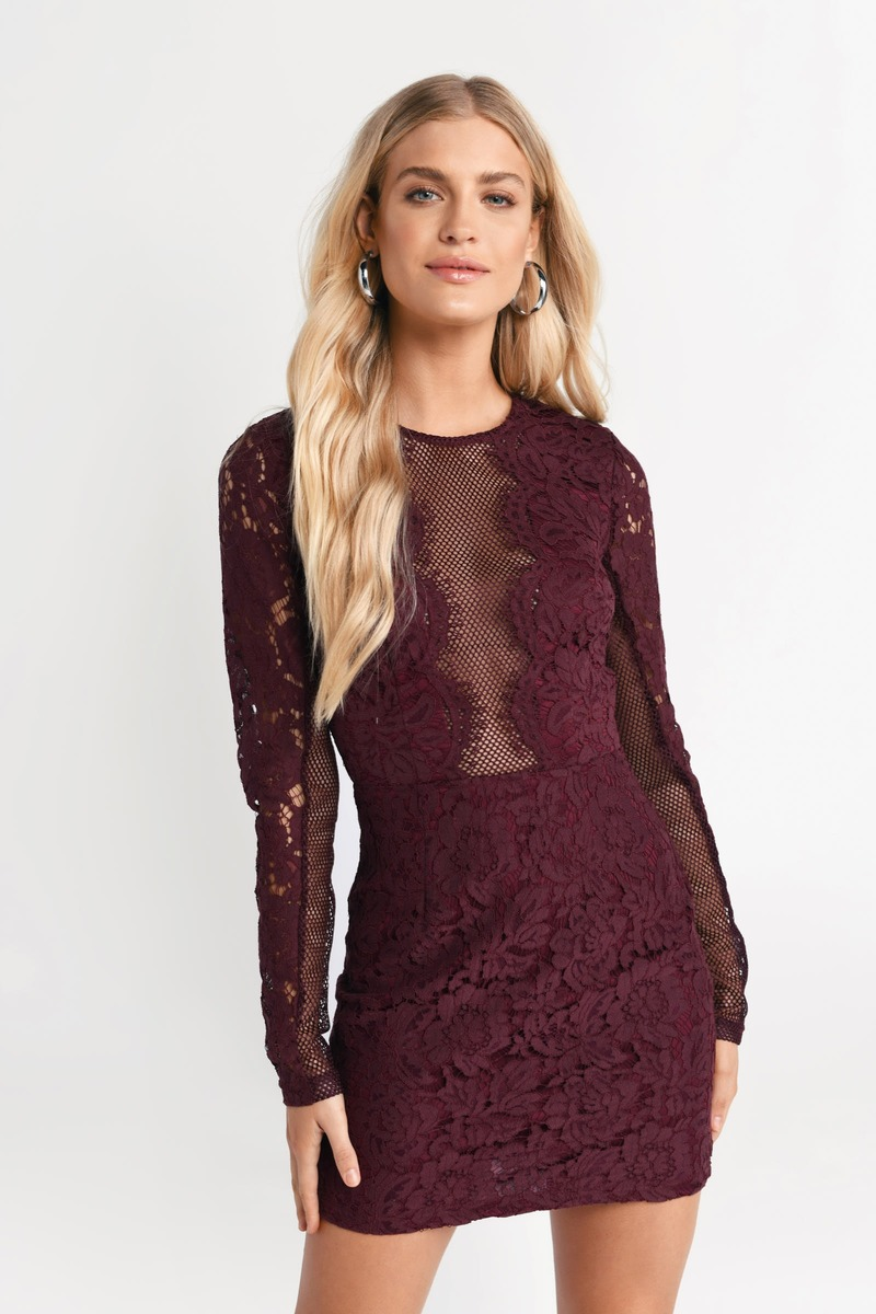 Cute Dress - Lace Bodycon Dress - Long Sleeve - Wine Dress - $36 ...