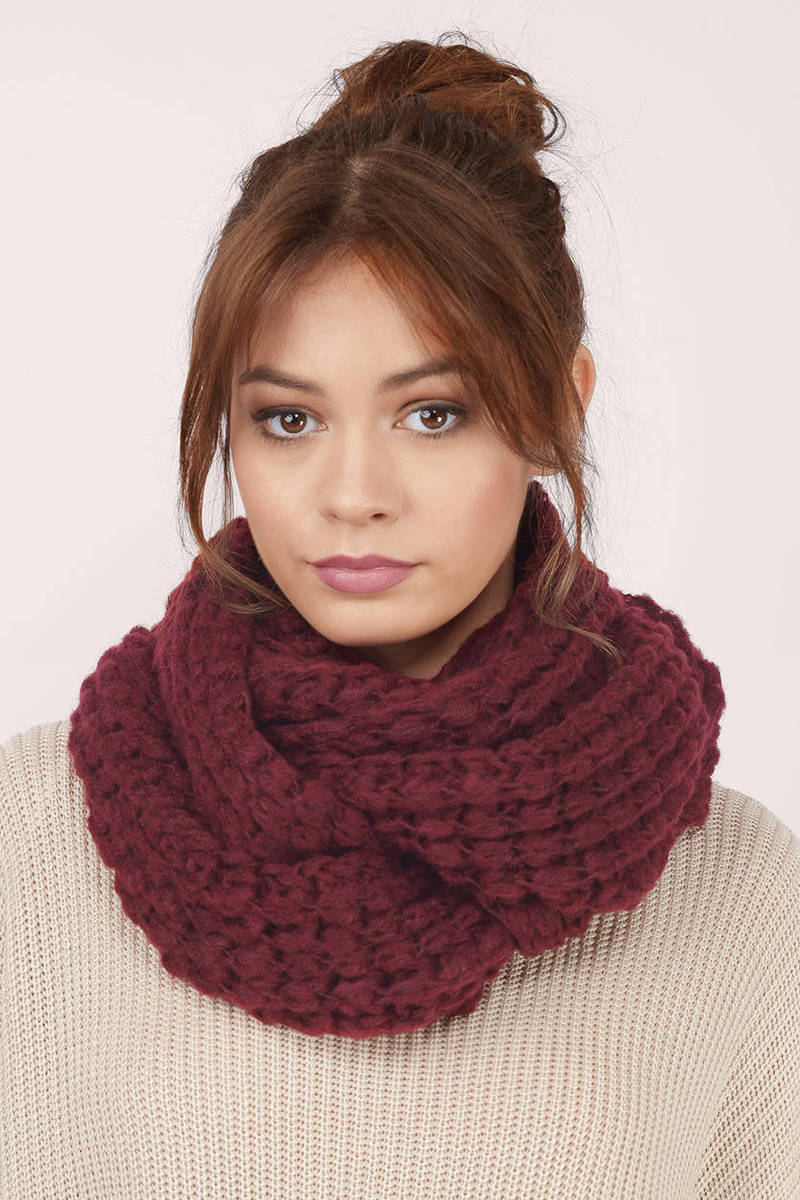 Cool Infinity Scarves Knitted Infinity Scarf Wine