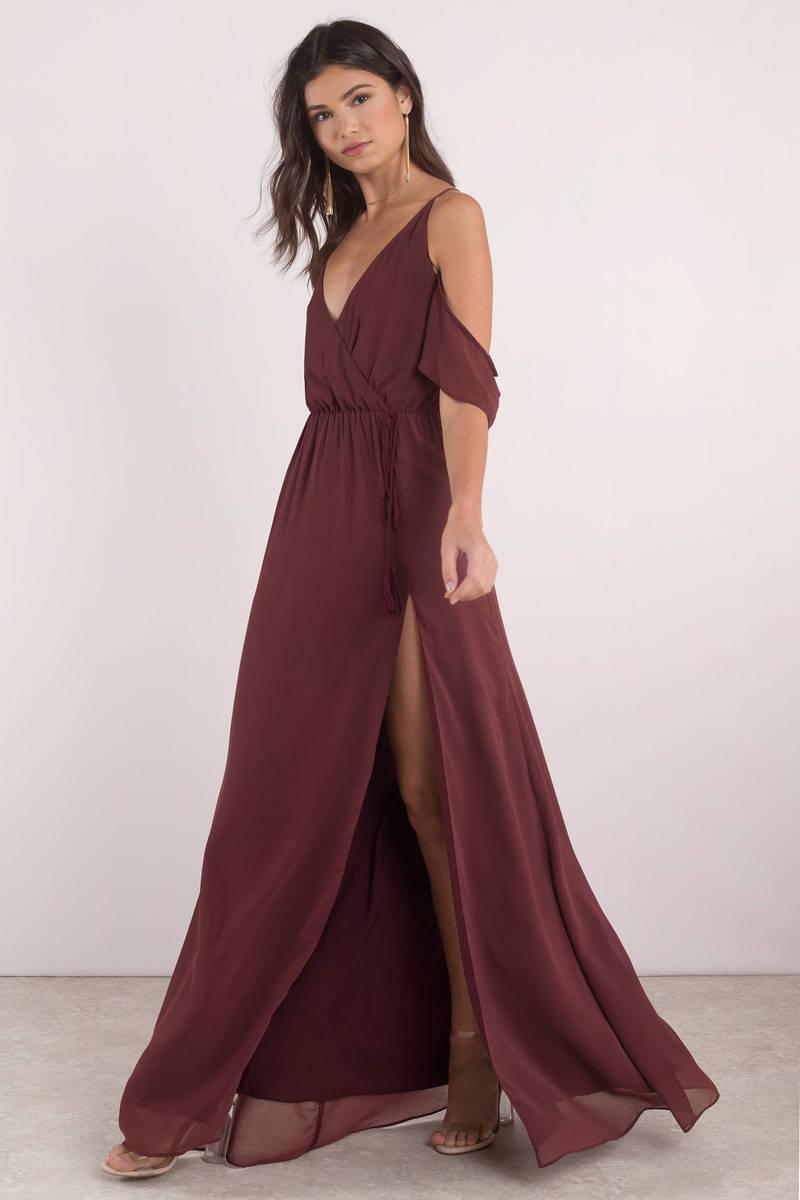e00235157f38 Lovely Wine Maxi Dress - Slit Dress - Wine Dress - Maxi Dress -  43 ...