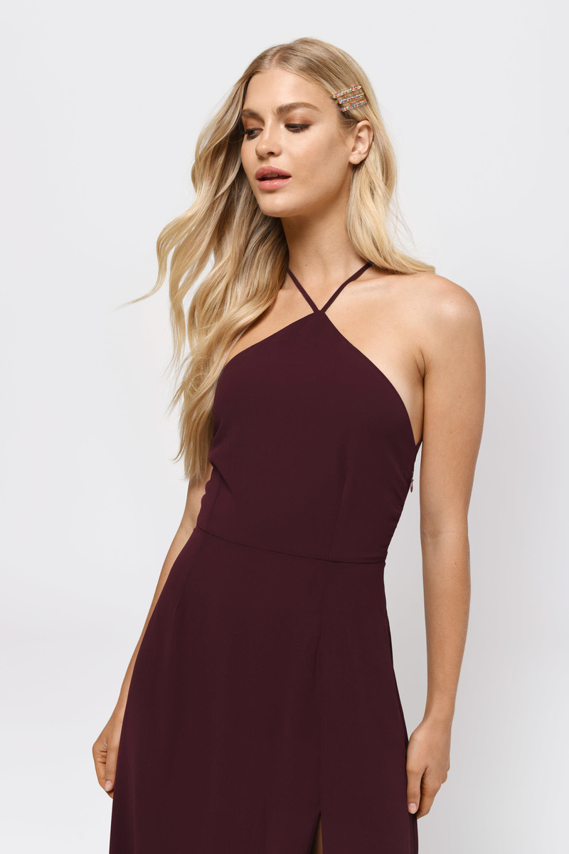 67c8551916dc Sexy Wine Maxi Dress - Strappy Back Dress - Wine Front Slit Dress ...