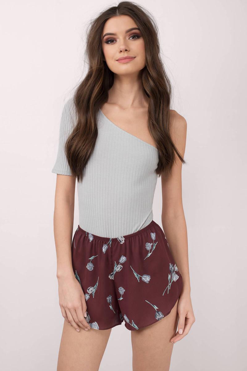 Sammie Wine Floral Print Shorts