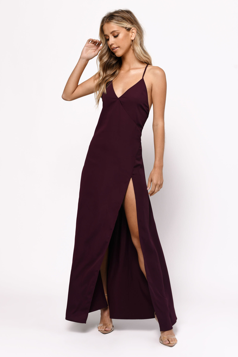 Cute Wine Dress - Open Back Dress - High Slit Dress - $26 | Tobi US