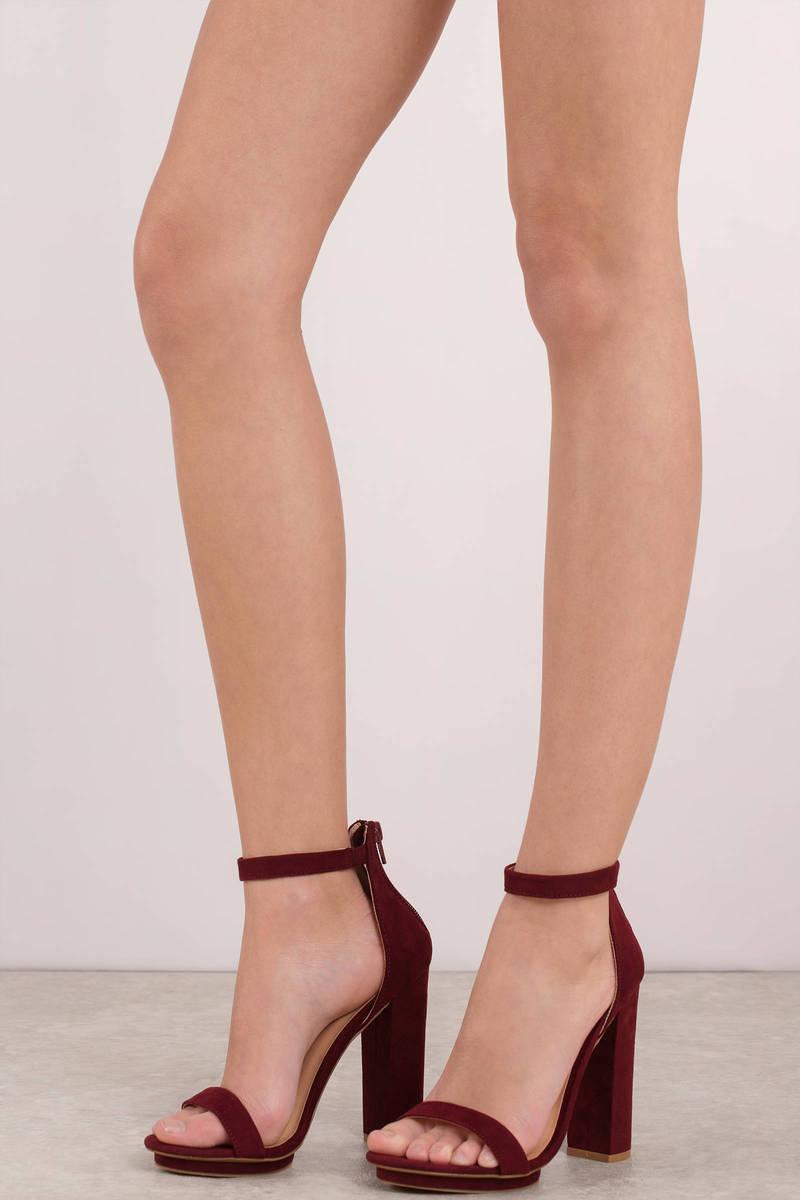 Wine Heels - Zip Ankle Strap Heels