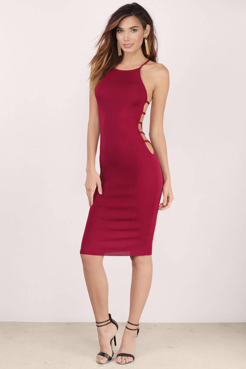 Smooth Criminal Wine Midi Dress