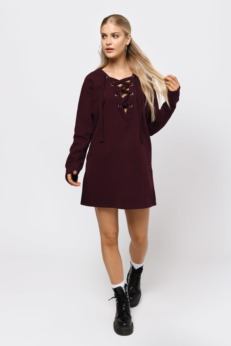 bab4d4c3fd Trendy Wine Dress - Lace Up Dress - Long Sleeve Dress -  32