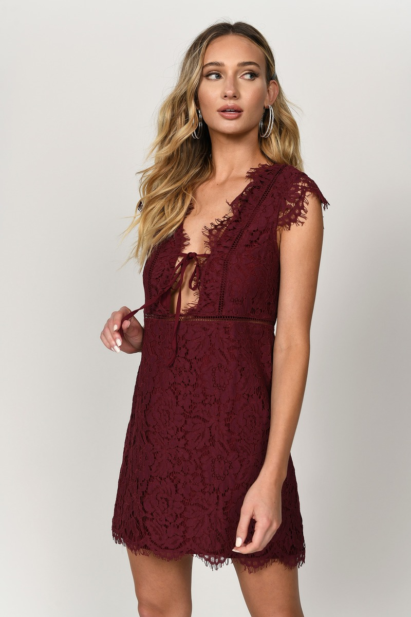 9f99024c9d4d1 Wine Dress - Red Dress - Wine Lace Overlay Dress - Shift Dress - $31 ...