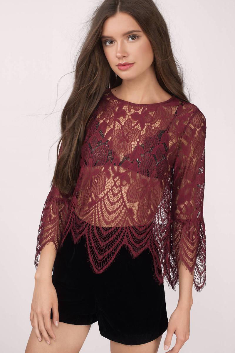 Spanish Romance Wine Lace Crop Top