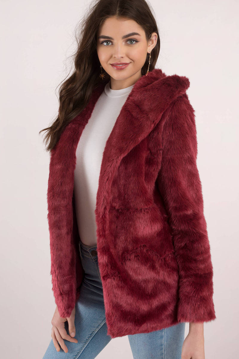 Warm Red Jacket Shaggy Faux Fur Jacket Red Faux Fur