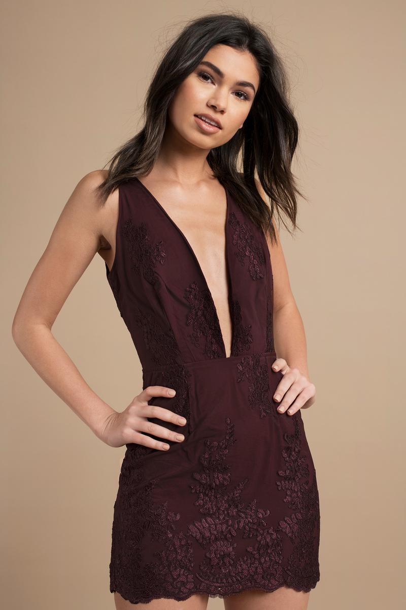 b587bee6409 Wine Bodycon Dress - Open Back Mini Dress - Wine Plunging Dress ...