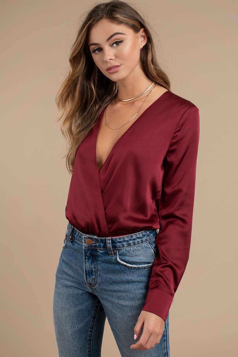 f1e62b90f6 Pretty Wine Bodysuit - Wine Satin Bodysuit - Long Sleeve V Neck ...