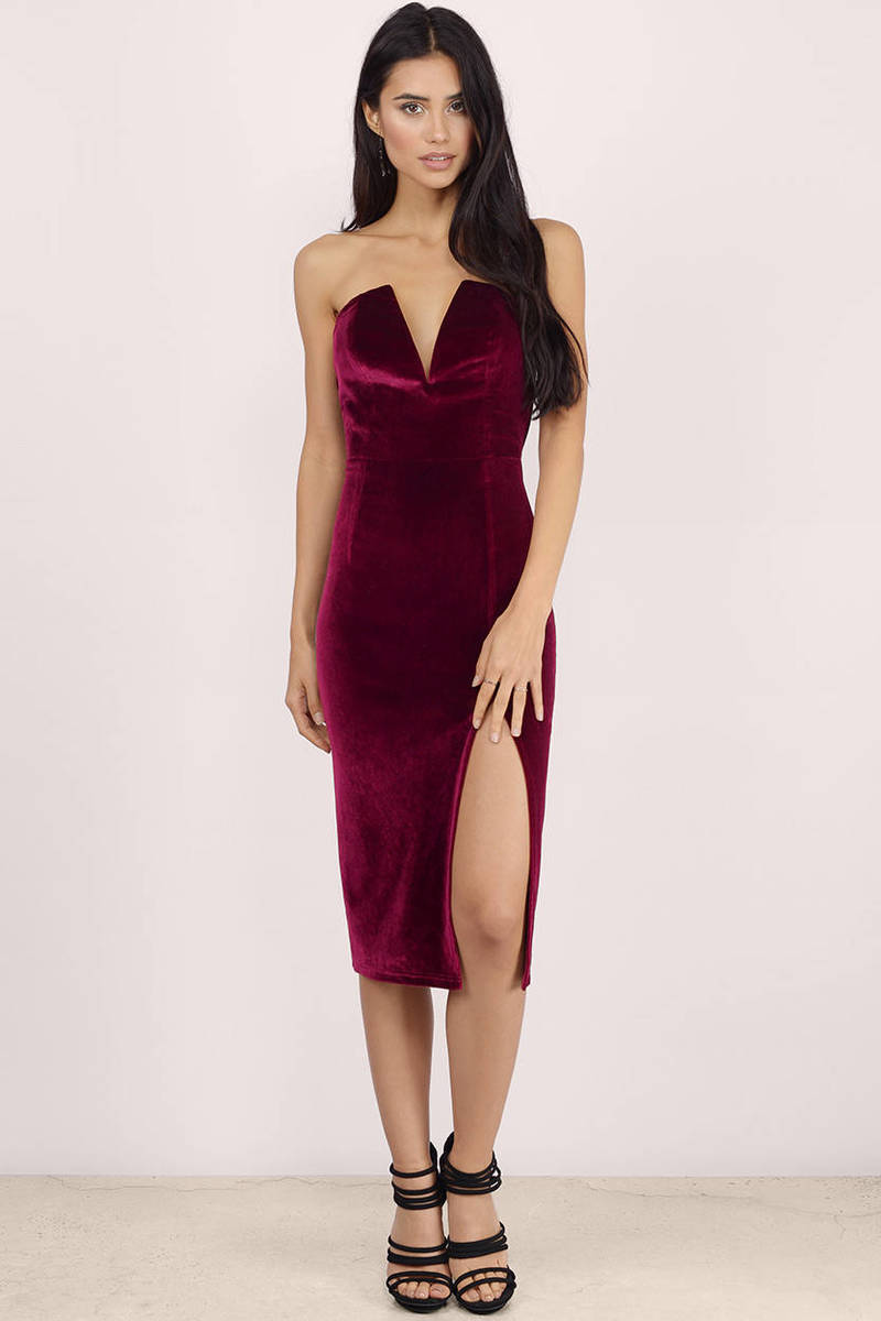 be51a2be3719 Sexy Wine Bodycon Dress - Strapless Dress - Bodycon Dress -  21 ...