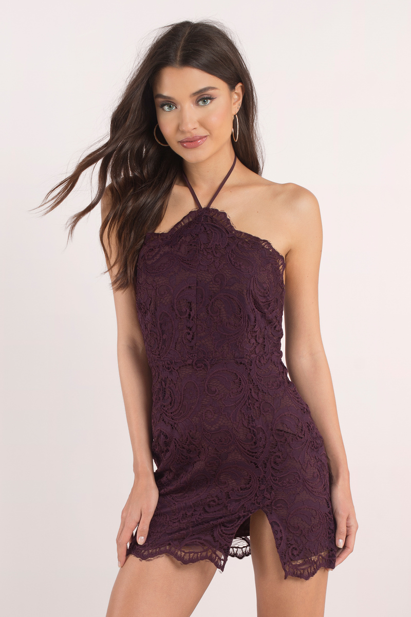 19ef8a4e3268 Wine Bodycon Dress - Side Slit Dress - Wine Halter Dress - $17 | Tobi US
