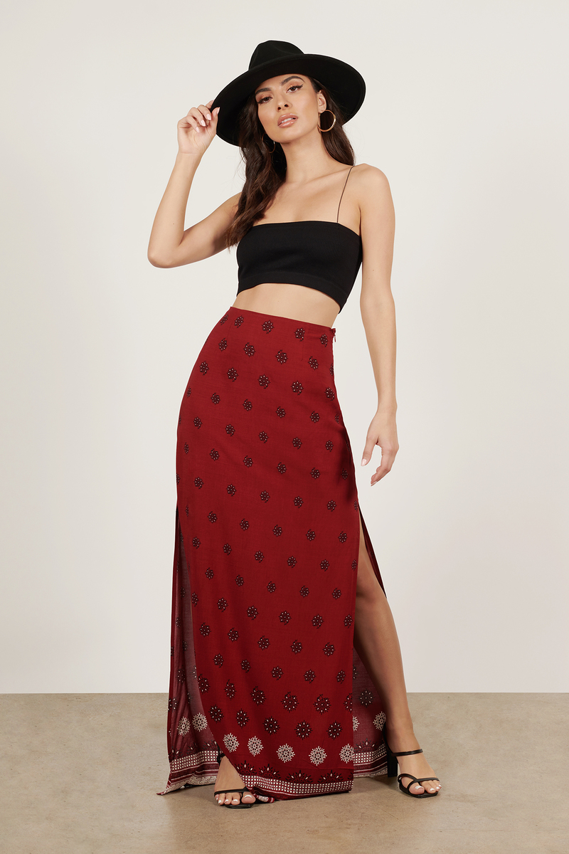 Wine Skirt Patterned Maxi Skirt Wine Printed Maxi