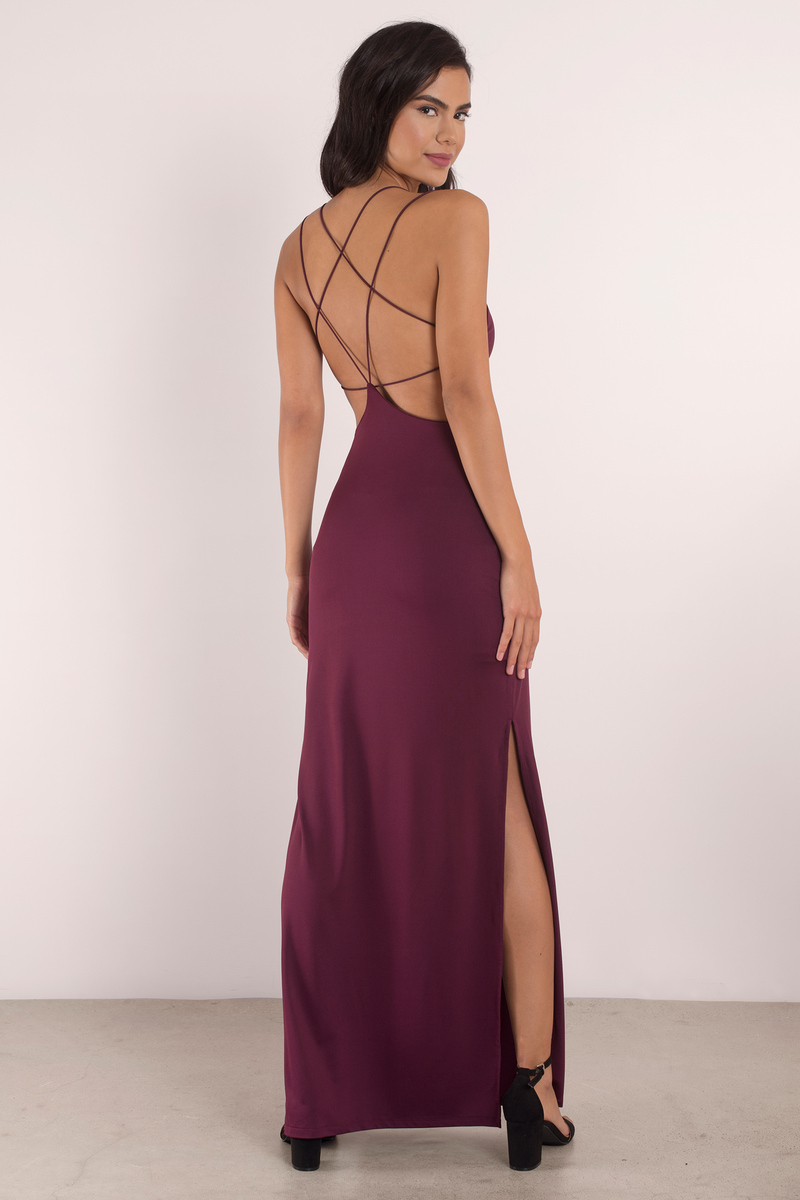 a7badae857 Sexy Wine Maxi Dress - Open Back Dress - Prom Dress - Maxi Dress - C ...