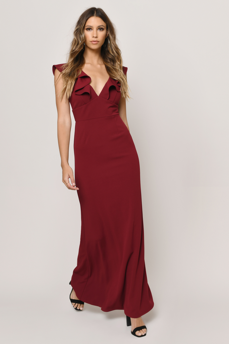 ebce1cd08930 Burgundy Maxi Dress - Ruffled Maxi Dress - Burgundy Evening Gown ...