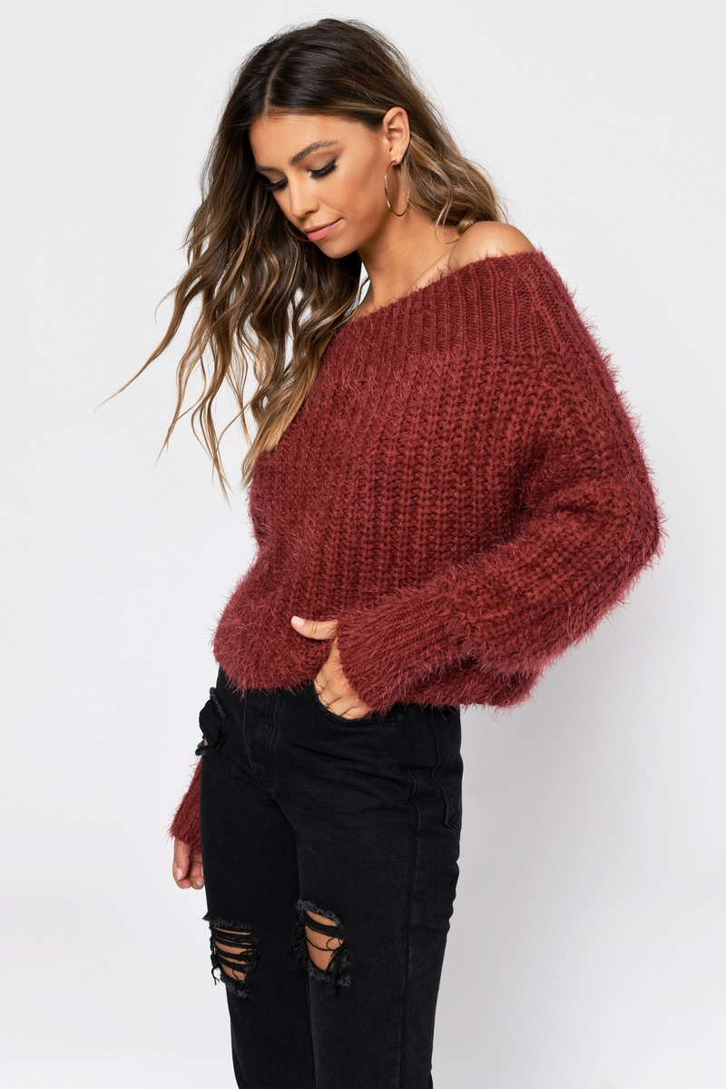 f895ca84690e Burgundy Sweater - Fuzzy Sweater - Burgundy Off Shoulder Sweater ...