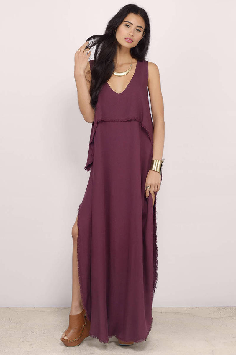 9acc0bcbb4 Cheap Wine Maxi Dress - Wine Dress - Deep V Dress - Maxi Dress - NZ ...
