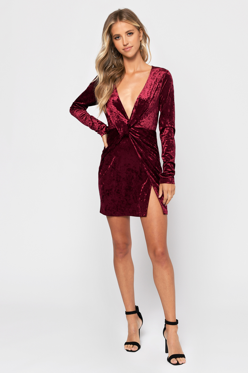 f384319cda8f Wine Bodycon Dress - Velvet Long Sleeve Dress - Wine Twist Dress ...