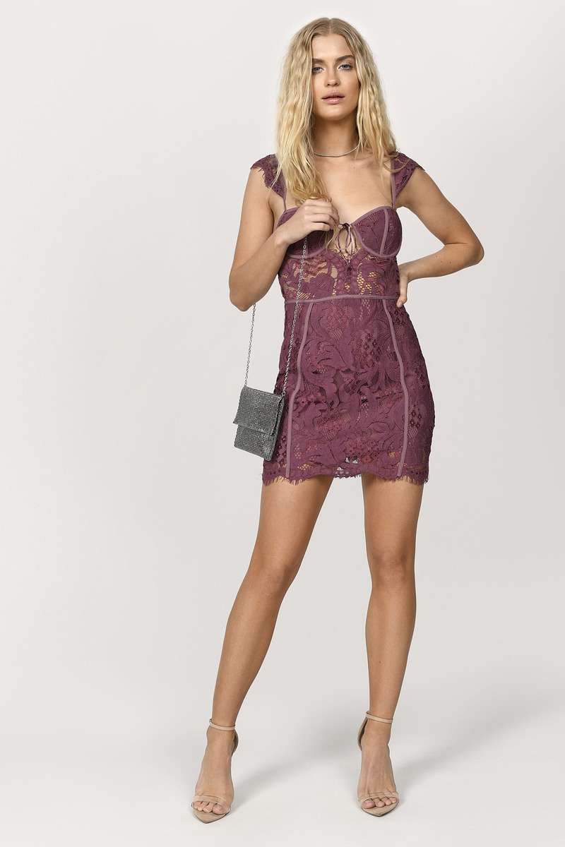 9010bea7b1a4 Wine Bodycon Dress - Bustier Dress - Lace Paneled Bodycon Dress ...
