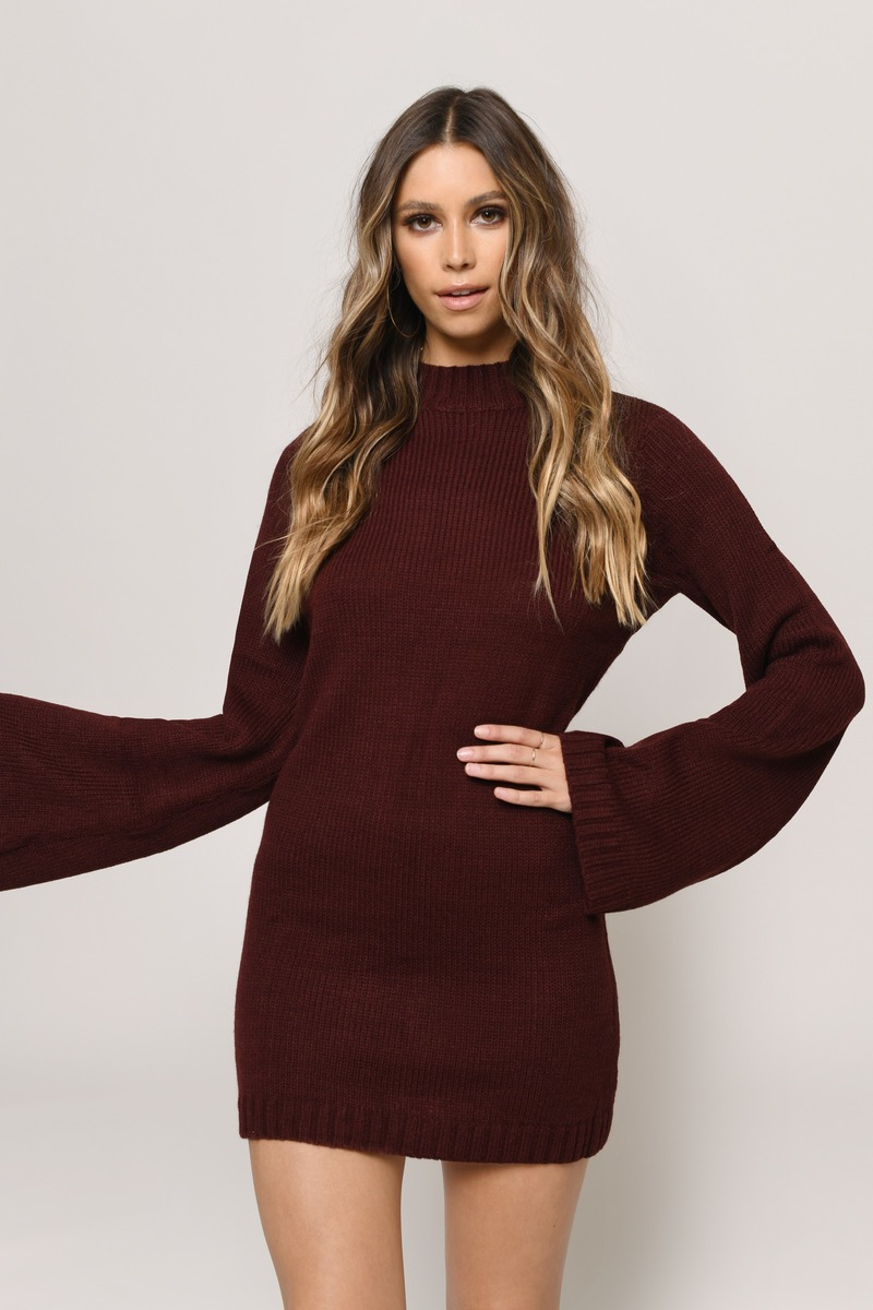 f884efac54 Cute Wine Dress - Bell Sleeve Dress - Long Sleeve Dress -  30