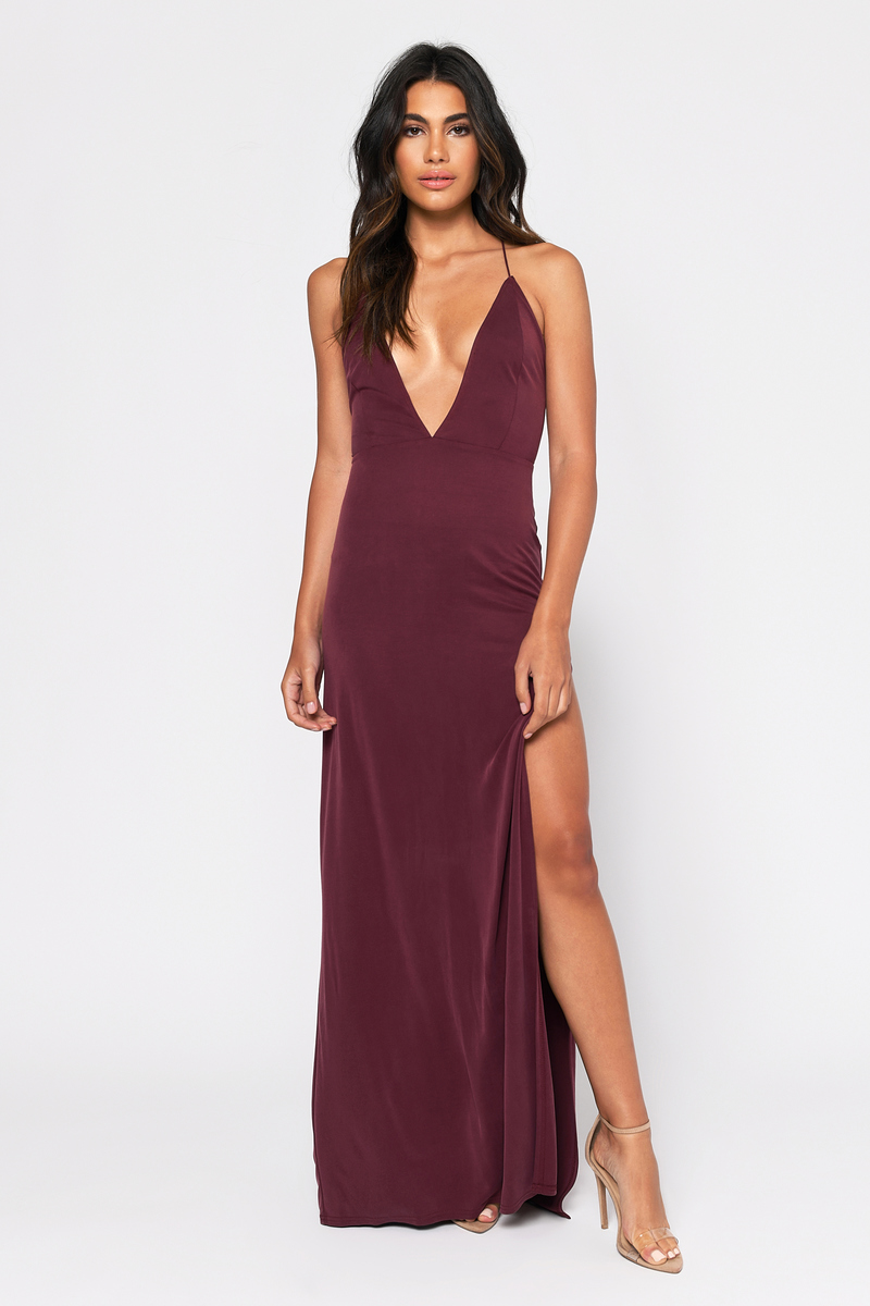 4cb597e2cd Sexy Wine Dress - Strappy Back - Plunging Neckline -  37