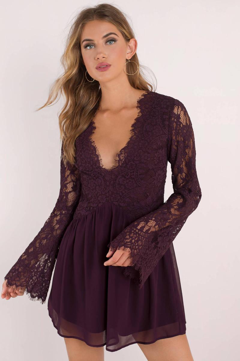 9ffde8ccd2888 Wine Shift Dress - Pink Dress - Bell Sleeve Dress - Half Lace Dress ...