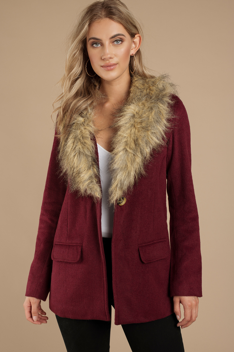 Trendy Wine Coat - Red Coat - Faux Fur Coat - $41.00