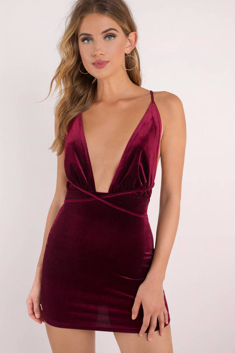 f579db3e8d65 Wine Bodycon Dress - Plunging Dress - Burgundy Velvet Bodycon Dress ...