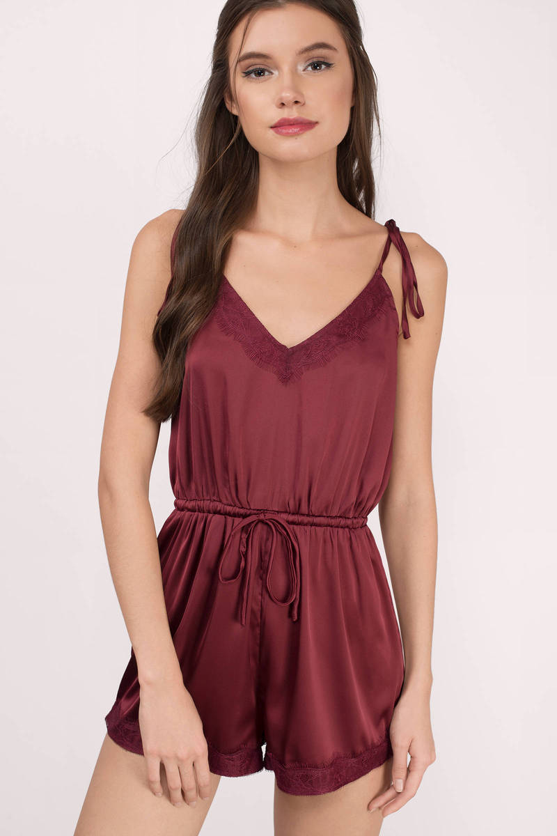 Zola Wine Satin Romper