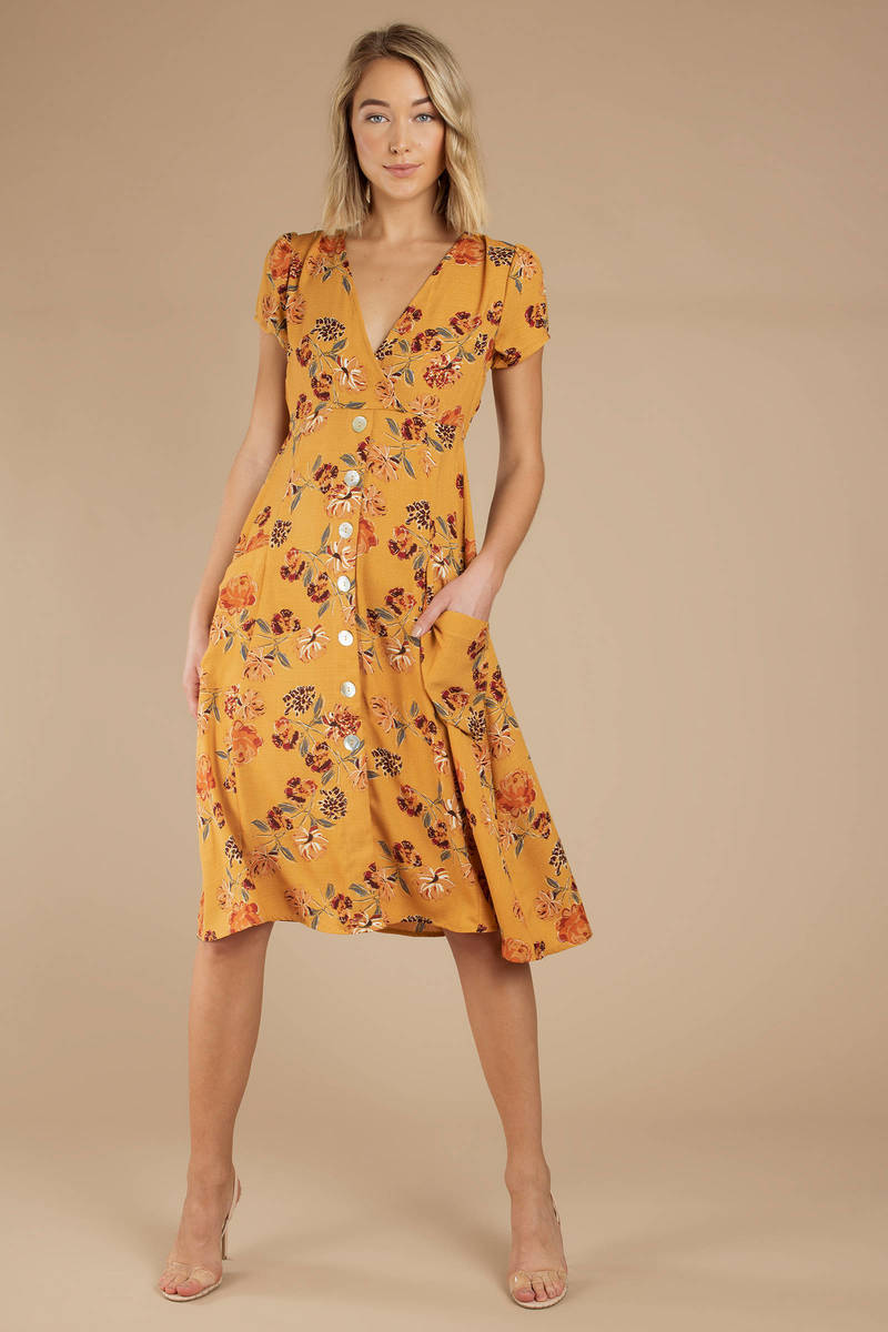 4844ebda4b4c2 Yellow Midi Dress - Short Sleeve Dress - Yellow Floral Dress - Day ...
