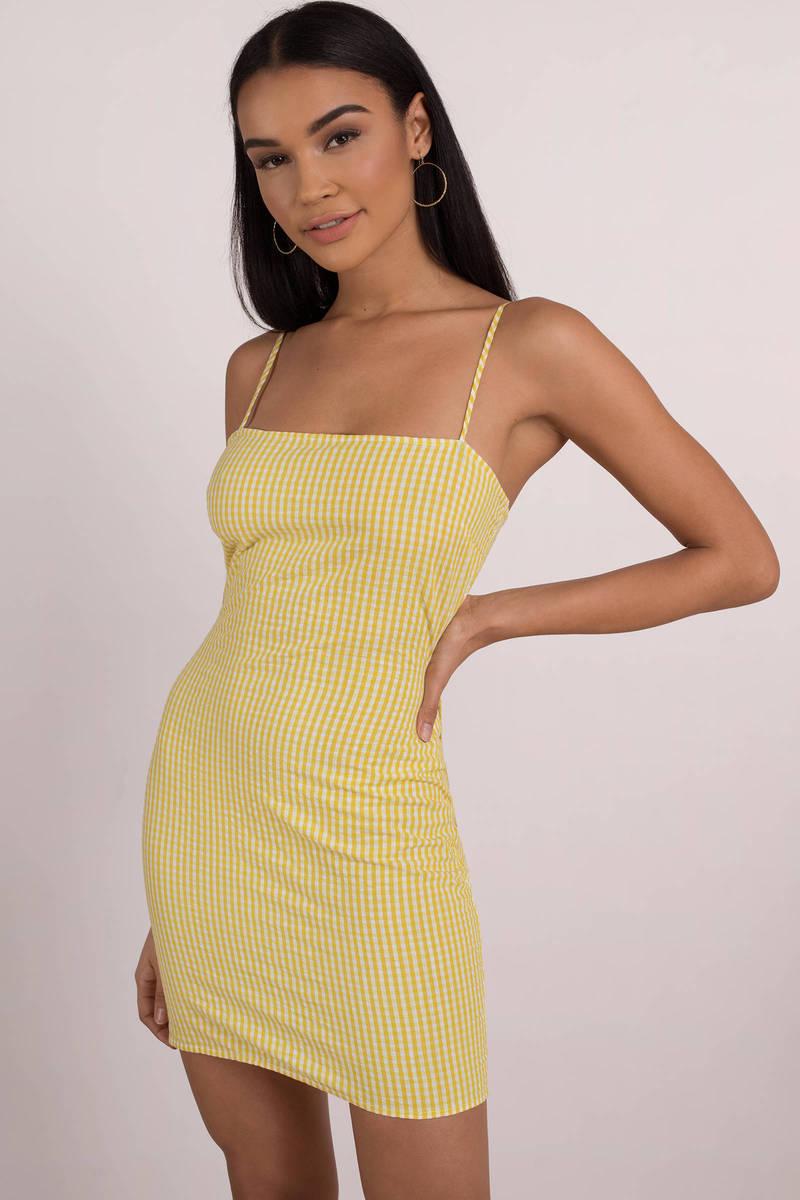 750333e79a Sexy Yellow Bodycon Dress - Yellow Tube Dress - Yellow Gingham Dress ...