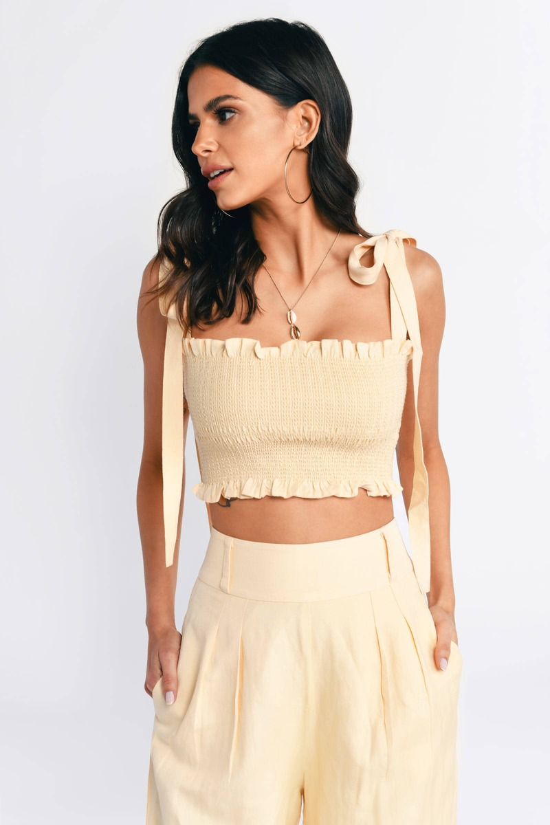 988a2958316a Capulet Blaire Yellow Smocked Crop Top - S$ 134 | Tobi SG