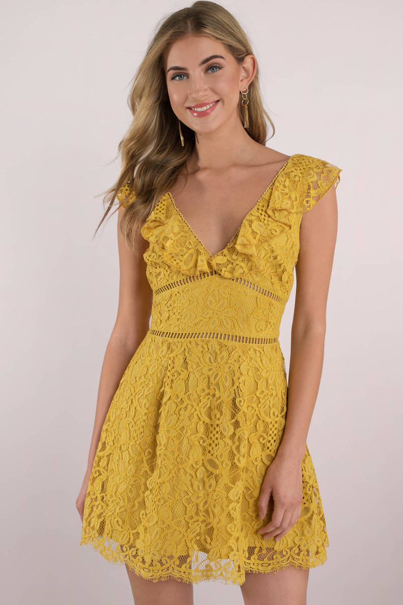 9eaae290827a6f Yellow Skater Dress - Ruffle Sleeve Dress - Yellow Golden Dress ...