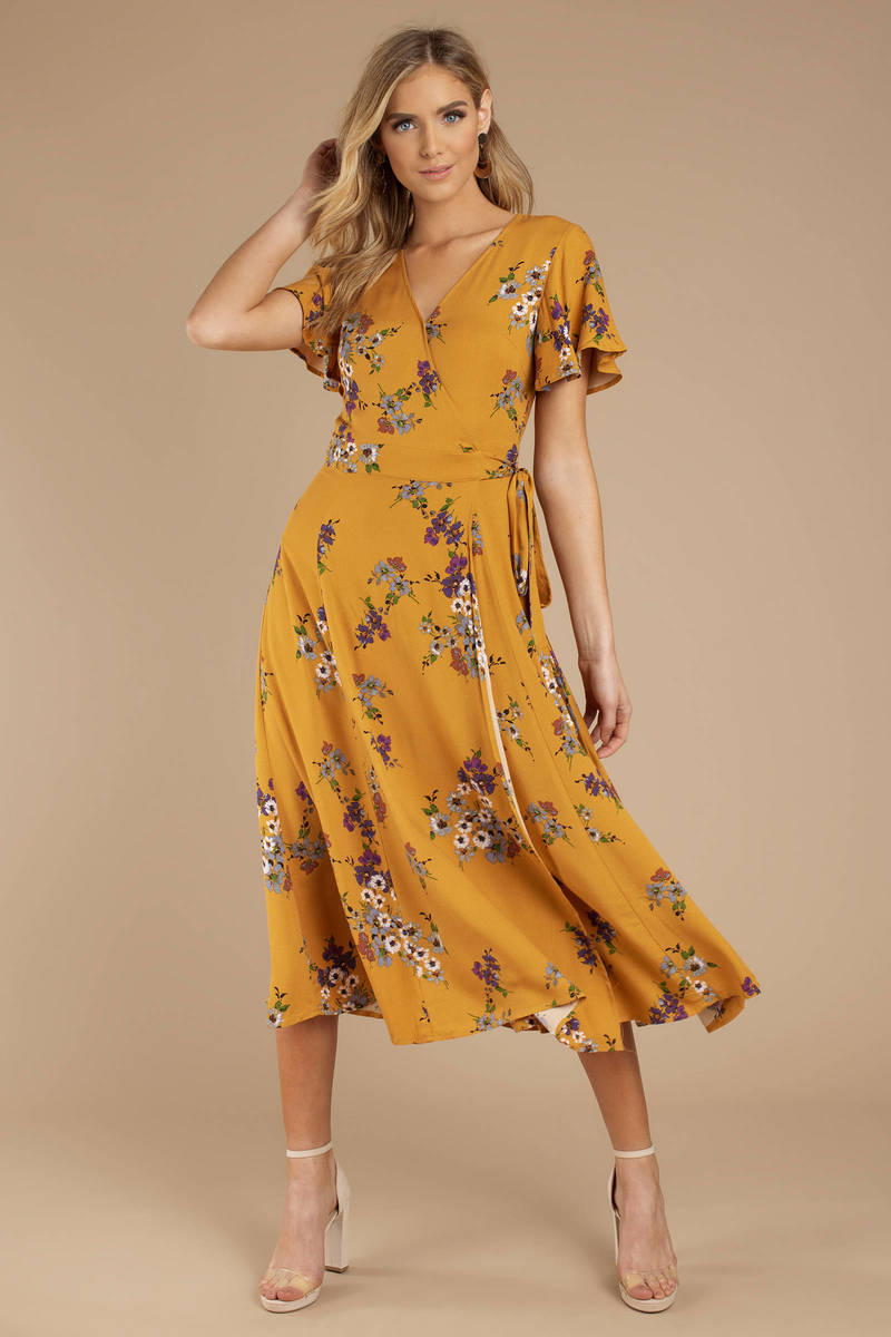 2fafe4884ff3 Yellow Midi Dress - Wrap Dress - Yellow Floral Midi Dress -  49 ...
