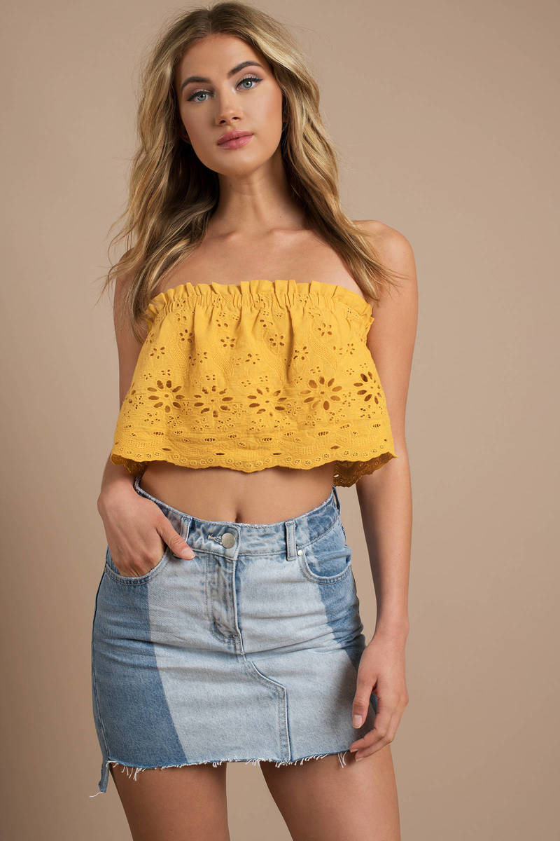 3abe58d356 Trendy Yellow Crop Top - Strapless Top - Yellow Eyelet Crop Top ...