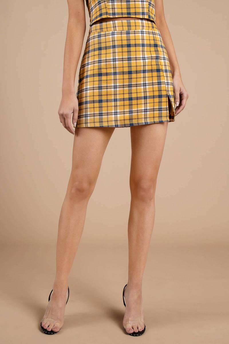 4ea05a180 Yellow Skirt - Plaid Skirt - Mustard Yellow High Waist Skirt - $30 ...
