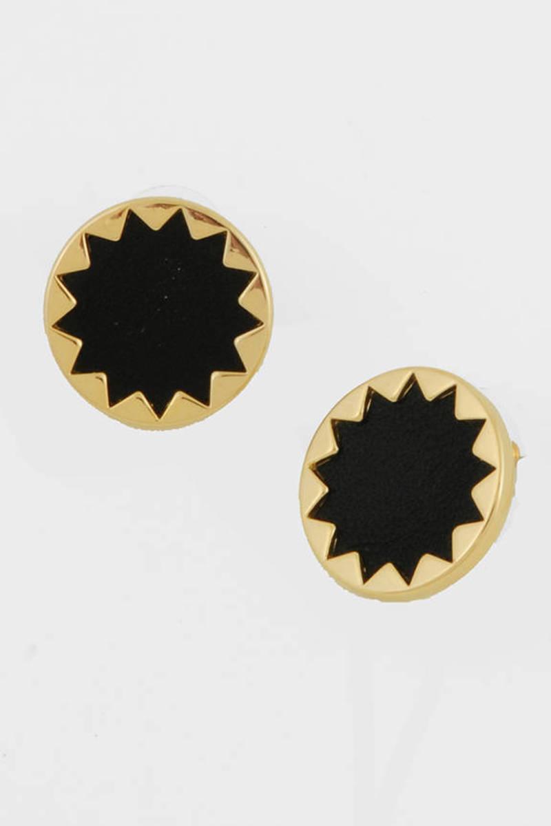 Leather Sunburst On Earrings