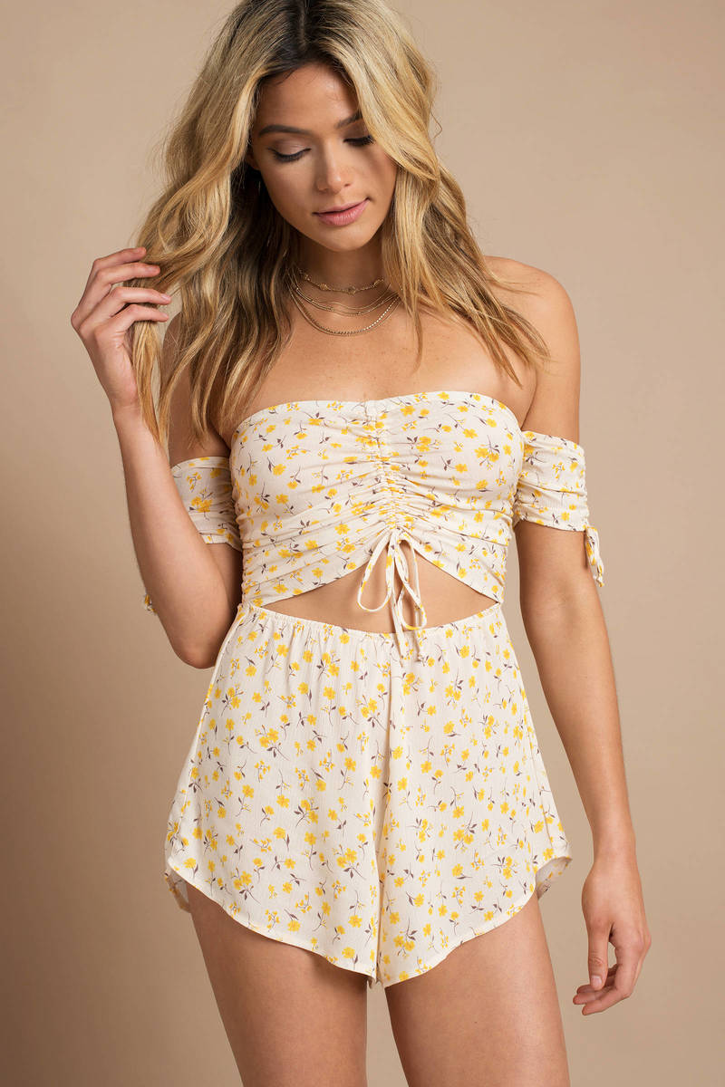 449dbdc9557f Yellow Blue Life Romper - Cut Out Romper - Yellow Floral Romper ...