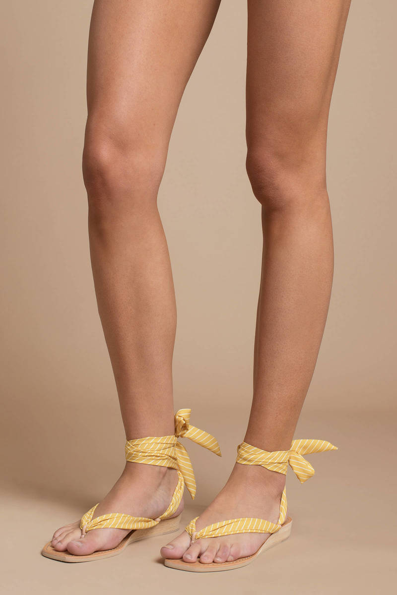 Yellow Sandals - Tied Sandals - Yellow Thong Sandals -  43  c26134bfe50b