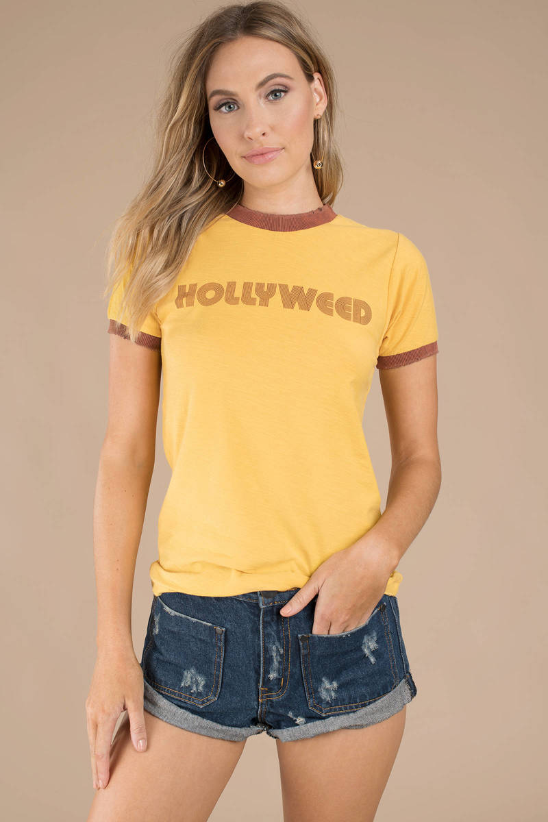 5f82b8f8af Yellow Stoned Immaaculate Tee - Graphic T Shirt - Yellow Ringer Tee ...
