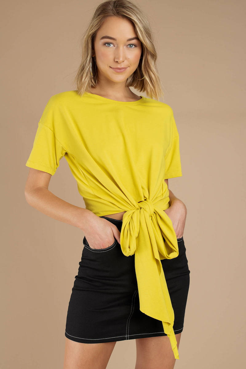 1c34ba90cd0 Yellow Minkpink Tee - Knotted Shirt - Yellow Short Sleeve Shirt - AU ...